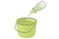 バケツに水と食器用洗剤をご用意ください